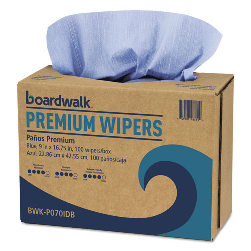 Hydrospun Wipers, Blue, 9 x 16.75, 100 Wipes/Box, 10 Boxes/Carton