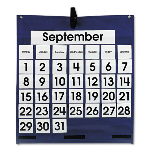 Monthly Calendar 43-Pocket Chart with Day/Week Cards, Blue, 25 x 28 1/2 | by Plexsupply