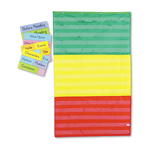 Adjustable Tri-Section Pocket Chart with 18 Color Cards, Guide, 36 x 60 | by Plexsupply