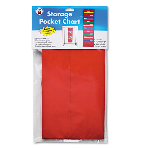 Storage Pocket Chart with 10 13 1/2 x 7 Pockets, Hanger Grommets, 14 x 47 | by Plexsupply