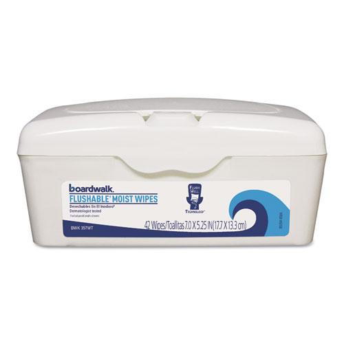 Boardwalk® Flushable Moist Wipes, Refill, 7 x 5 1/4, Floral Scent, 42/Pack, 12 Packs/Carton