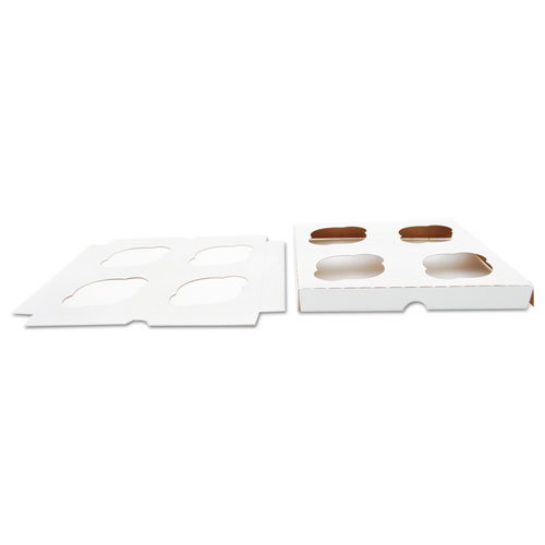 Cupcake Holder Inserts, Paperboard, White/Kraft, 7.88 x 7.88 x 0.88, 200/Carton