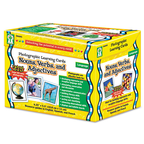 Photographic Learning Cards Boxed Set, Nouns/Verbs/Adjectives, Grades K-12 | by Plexsupply