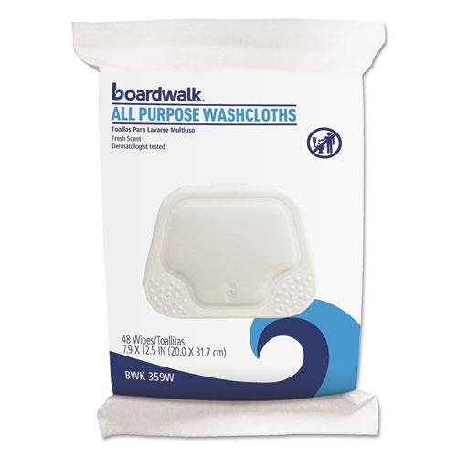 Boardwalk® Premoistened Washcloths, 12 1/2 x 7 9/10, Fresh Scent, 48/Pack, 6 Packs/Carton