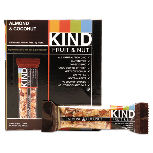 Fruit and Nut Bars, Almond and Coconut, 1.4 oz, 12/Box