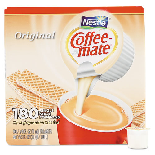 Liquid Coffee Creamer, Original, 0.38 oz Mini Cups, 180/Carton