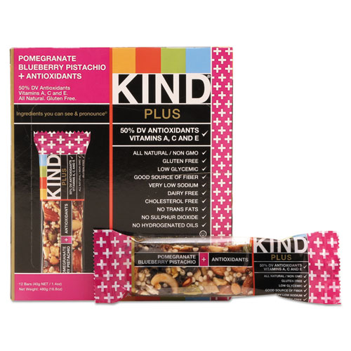 Plus Nutrition Boost Bar, Pom. Blueberry Pistachio/Antioxidants, 1.4 oz, 12/Box