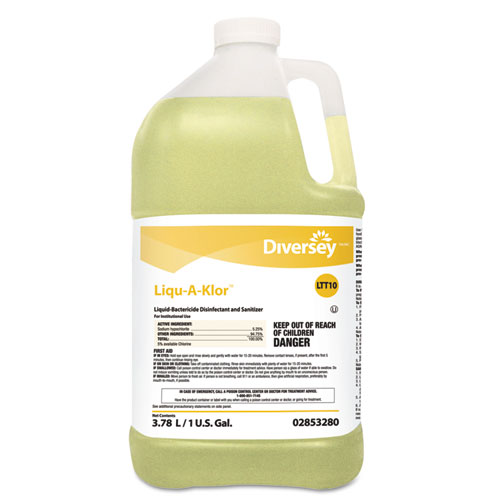 Diversey™ Liqu-A-Klor Disinfectant/Sanitizer, 1 gal Bottle, 4/Carton