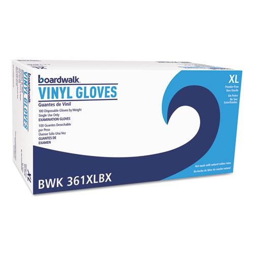 Exam Vinyl Gloves, Clear, X-Large, 3 3/5 mil, 1000/Carton   by Plexsupply