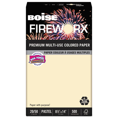 FIREWORX Premium Multi-Use Paper, 20lb, 8.5 x 14, Flashing Ivory, 500/Ream | by Plexsupply