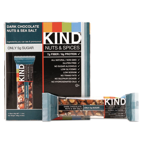 Kind Nut and Spices Bar, Dark Chocolate Nuts and Sea Salt