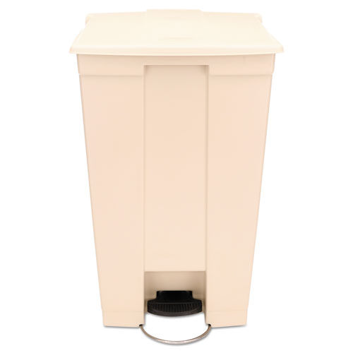 Rubbermaid® Commercial Step-On Receptacle with Wheels, Rectangular, Polyethylene, 23 gal, Beige