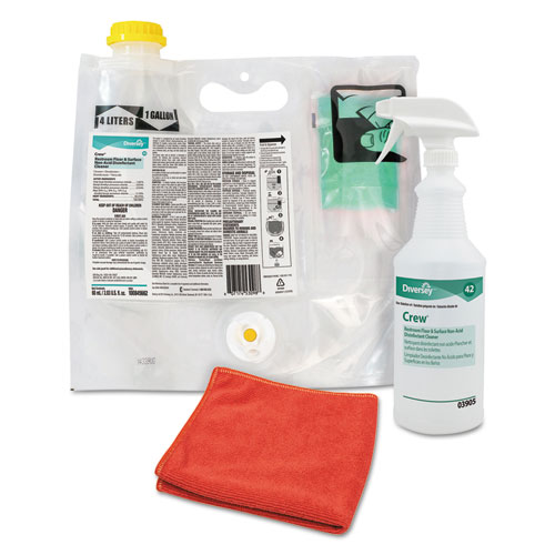 Diversey™ Crew Restroom Non-Acid Disinfectant Cleaner, Fresh, 60mL Smart Mix Pack, 2/Crtn