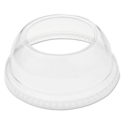 Open-Top Dome Lid for 9-22 oz Plastic Cups, Clear, 1.9in.Dia Hole, 1000/Carton DLW662