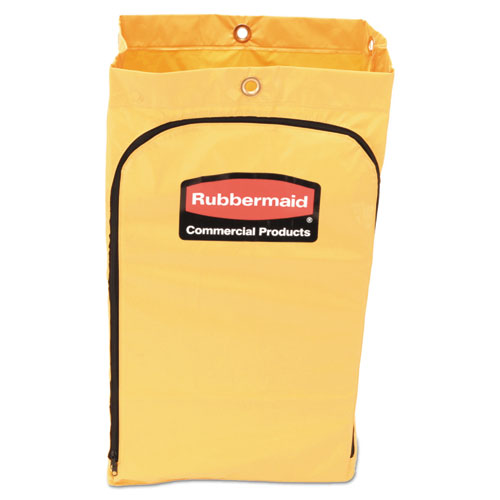 Zippered Vinyl Cleaning Cart Bag, 24 gal, , 17.25 x 30.5, Yellow