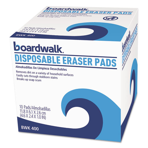 Boardwalk® Disposable Eraser Pads, White, Foam, 2 2/5 x 4 3/5, 100/Carton