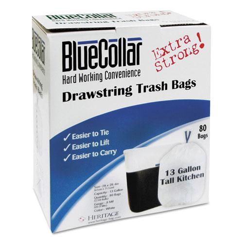 Drawstring Trash Bags, 13 gal, 0.8 mil, 24 x 28, White, 480/Carton