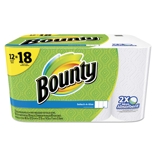 Bounty® Select-a-Size Perforated Roll Towels, 11 x 5.9, White, 95 Sheets/Roll, 12/Pack