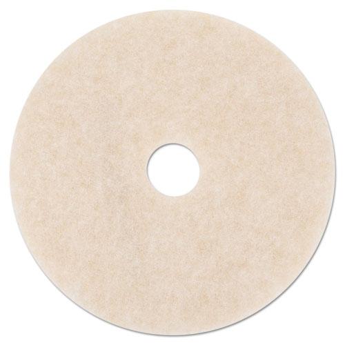 """3M™ Ultra High-Speed TopLine Floor Burnishing Pads 3200, 19"""" Dia., White/Amber, 5/CT"""