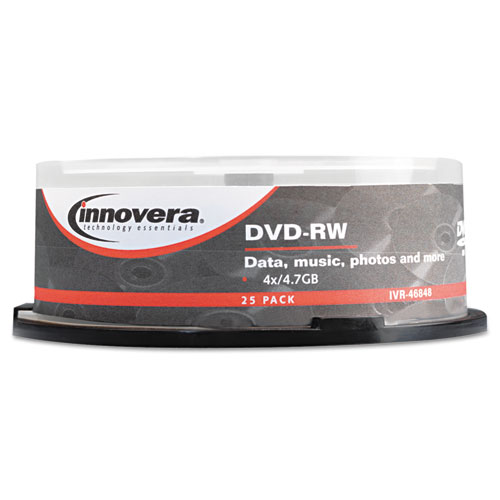 DVD-RW Discs, 4.7GB, 4x, Spindle, Silver, 25/Pack | by Plexsupply