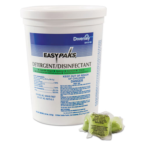 Easy Paks® Detergent/Disinfectant, Lemon Scent, .5oz, Packet, 90/Tub, 2 Tubs/Carton