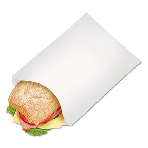 "Grease-Resistant Single-Serve Bags, 6.5"" x 8"", White, 2,000/Carton"