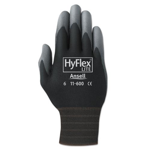 HyFlex Lite Gloves, Black/Gray, Size 10, 12 Pairs | by Plexsupply