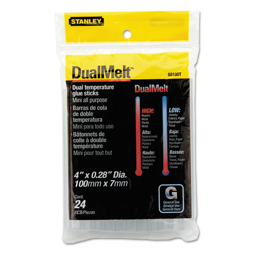 "Dual Temperature Mini Glue Sticks, 0.28"" x 4"", Dries Clear, 24/Pack | by Plexsupply"