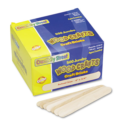 "Natural Wood Craft Sticks, Jumbo Size, 6"" x 0.75"", Wood, Natural, 500/Box 
