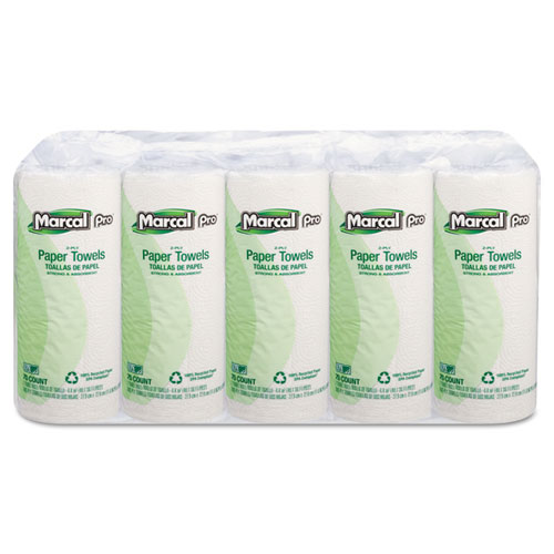 Marcal PRO™ 100% Premium Recycled Perforated Towels, 11 x 9, White, 70/Roll, 15 Rolls/Carton