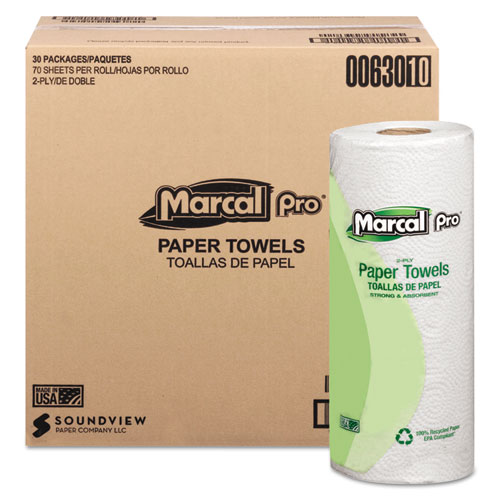 Marcal PRO™ 100% Premium Recycled Kitchen Roll Towels, 2-Ply, 11 x 9, White, 70/Roll, 30 Rolls/Carton