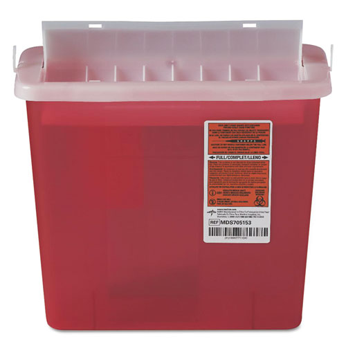 Sharps Container for Patient Room, Plastic, 5 qt, Rectangular, Red