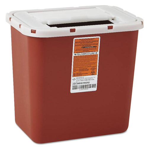 Sharps Container, Freestanding/Wall Mountable, 8 qt, Red