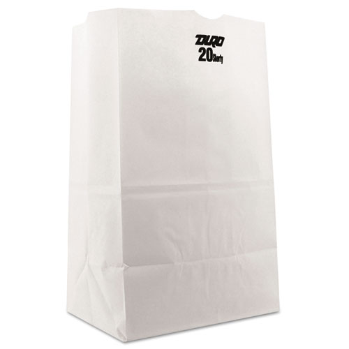 """Grocery Paper Bags, 40 lbs Capacity, #20 Squat, 8.25""""w x 5.94""""d x 13.38""""h, White, 500 Bags BAGGW20S500"""