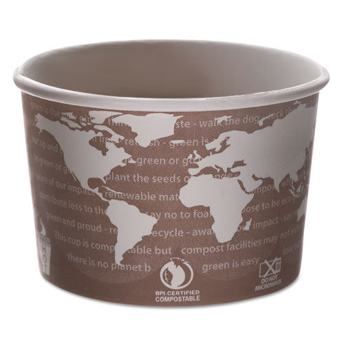 World Art Renewable and Compostable Food Container, 8 oz, Brown, 50/Pack, 20 Packs/Carton | by Plexsupply