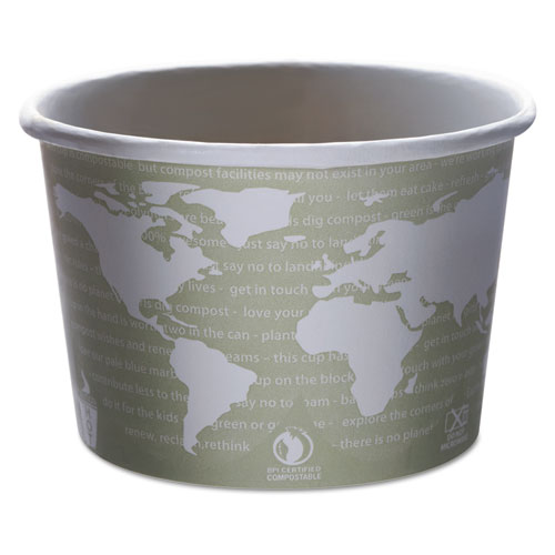 World Art Renewable and Compostable Food Container, 16 oz, Seafoam, 25/Pack, 20 Packs/Carton