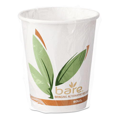 Bare by Solo Eco-Forward Recycled Content PCF Wrapped Hot Cups, 10 oz, 480/Ct W370RCJ8484