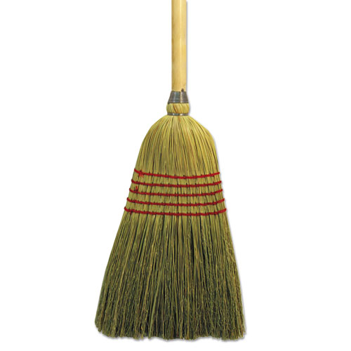 "Parlor Broom, Yucca/Corn Fiber Bristles, 55.5"", Wood Handle, Natural 