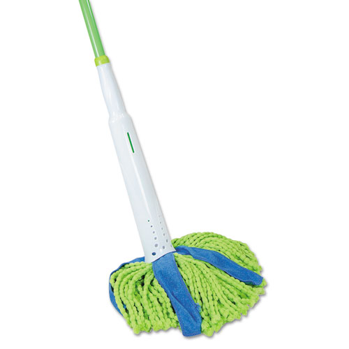 "Cone Mop Supreme, 8"" Wide Green/Blue Microfiber/Polyester Head, 31.75"" Gray/White Steel Handle"