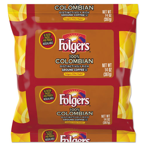 Coffee Filter Packs, 100% Colombian, 1.4 oz Pack, 40/Carton 10107