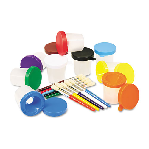 No-Spill Cups  Coordinating Brushes, Assorted Colors, 10/Set