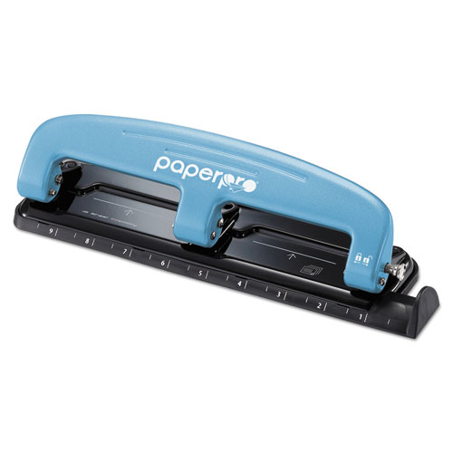 EZ Squeeze Three-Hole Punch, 12-Sheet Capacity, Blue/Black | by Plexsupply