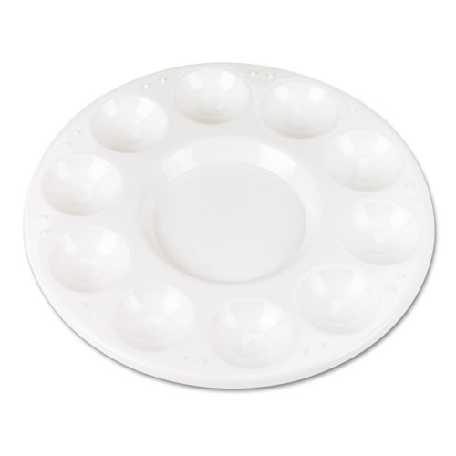 Round Plastic Paint Trays for Classroom, White, 10/Pack | by Plexsupply