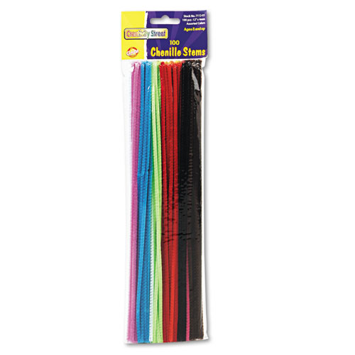 "Regular Stems, 12"" x 0.16"", Metal Wire, Polyester, Assorted, 100/Pack 