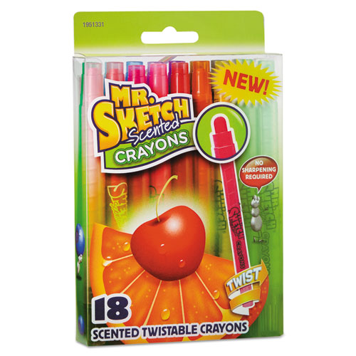 Mr. Sketch® Scented Crayons, Wax, Assorted, 18/Pack