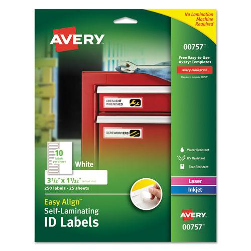 Self-Laminating ID Labels, Inkjet/Laser Printers, 1.332 x 3.5, White, 10/Sheet, 25 Sheets/Pack