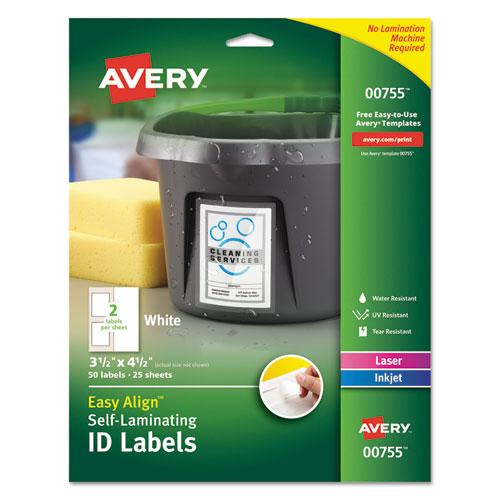 Self-Laminating ID Labels, Inkjet/Laser Printers, 3.5 x 4.5, White, 2/Sheet, 25 Sheets/Pack