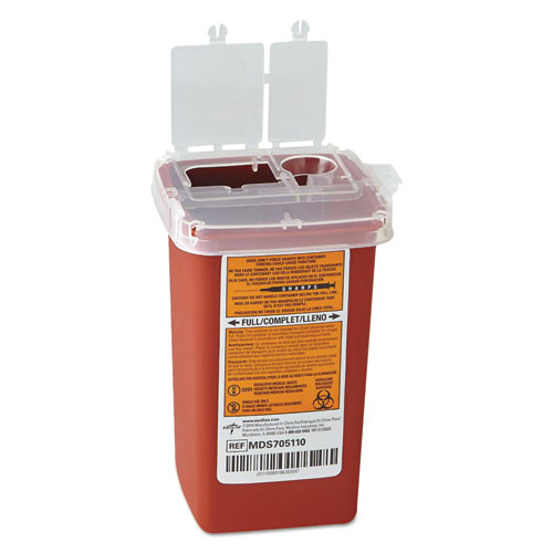 Sharps Container, Freestanding/Wall Mountable, 1 qt, Red