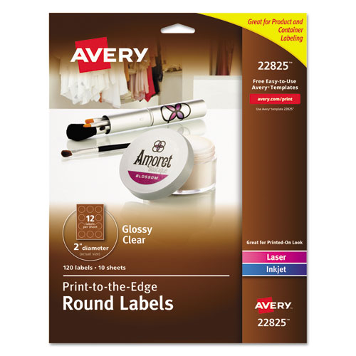 "Avery® Round Print-to-the-Edge Labels, 2"" dia, Glossy Clear, 120/Pack"
