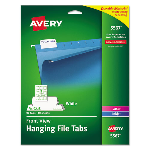 Laser Printable Hanging File Tabs, 1/5-Cut Tabs, White, 2.06 Wide, 90/Pack